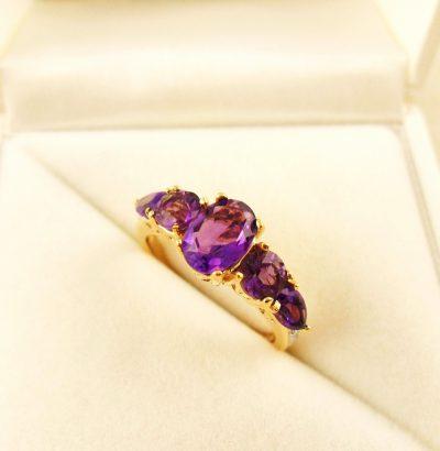 Vergoldeter Amethyst Diamant Ring Gelbgold Einzelstück Schmuck Verlobungsring