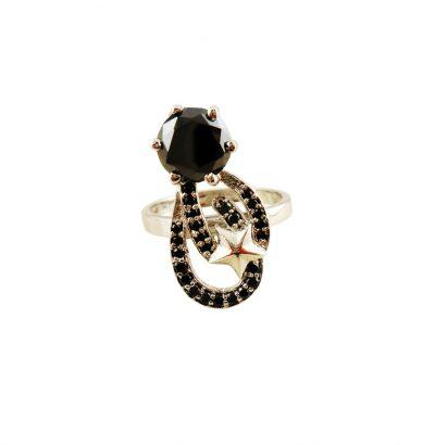 Außergewöhnlicher Moissanit Ring handgefertigt Sterlingsilber Stern Verlobungsring Black Diamond Einzelstück Schmuck