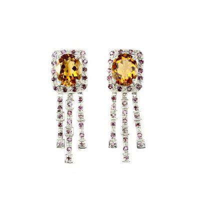 Citrin Rhodolith-Granat Ohrringe Sterlingsilber vergoldet Weißgold Schmuck