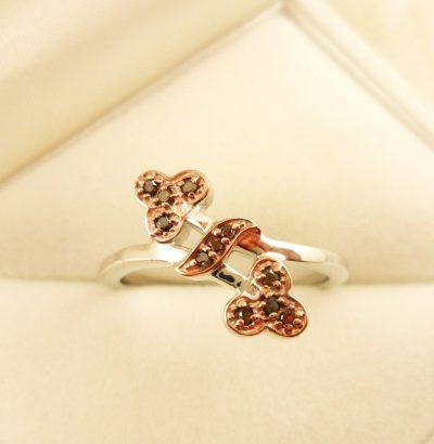 """Diamant Ring """"Red Diamond"""" 18 Karat vergoldet Verlobungsring Schmuck Einzelstück"""