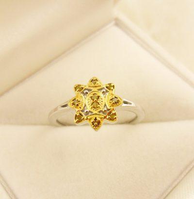 "Diamant Ring ""Yellow Diamond"" 18 Karat vergoldet Verlobungsring Schmuck Einzelstück"
