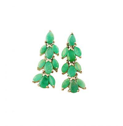 Exquisite Smaragd Ohrhänger Vergoldet Weißgold Schmuck grün Geschenkidee