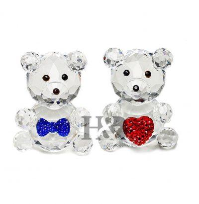 Kristallglas Bären Pärchen mit Herz 27 x 42 mm Handgefertigt Inkl. Geschenkbox Briefbeschwerer Geschenkidee