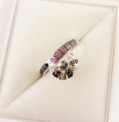 Mehrfarbiger Ring mit Rohdiamanten Sterlingsilber Schmuck Verlobungsring