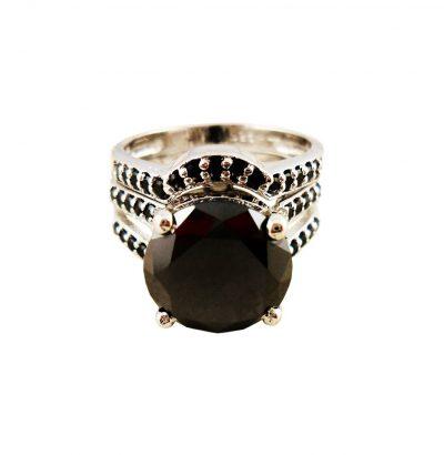 Handgefertigtes Moissanit Ring Set mit Cubic Zirkonia Sterlingsilber Einzelstück Schmuck