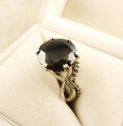 Moissanit Ring Set mit Rohdiamanten 2-tlg. handgefertigt Sterlingsilber Einzelstück Schmuck Verlobungsring