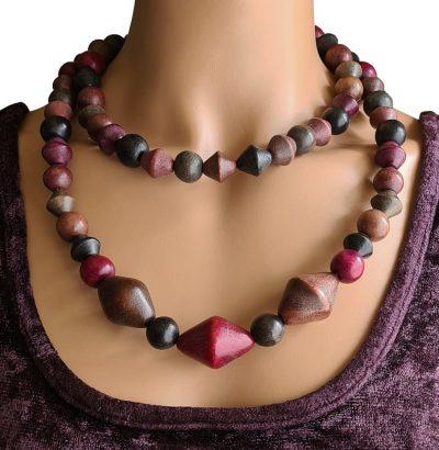 Multicolor Holz Halskette Agneta handgefertigt Einzelstück Schmuck