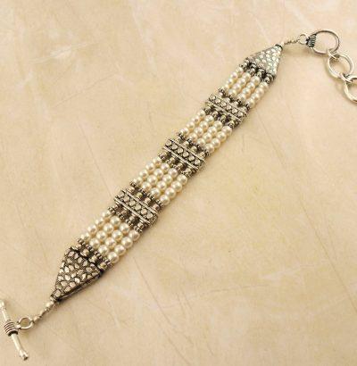 Perlen Armband versilbert - Einzelstück Schmuck
