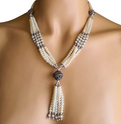 Außergewöhnliches Perlen Collier versilbert - Einzelstück Schmuck