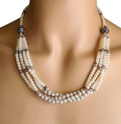 Perlen Collier mit Zwischenperlen versilbert - Einzelstück Schmuck