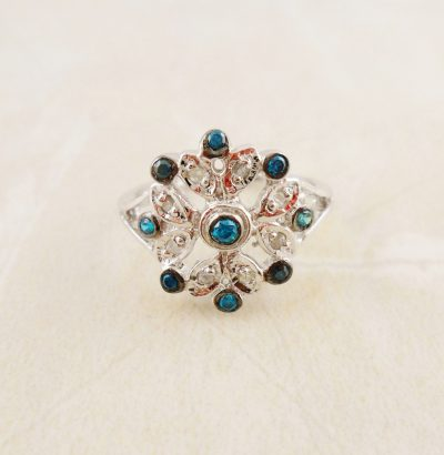 Ring mit Zirkonia & Rohdiamanten Sterlingsilber Schmuck Verlobungsring Einzelstück