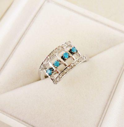 Ring mit blauen Zirkonia & Rohdiamanten Sterlingsilber Schmuck Einzelstück Verlobungsring