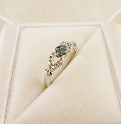 Ring mit blauen CZ & Rohdiamanten Sterlingsilber Schmuck Verlobungsring