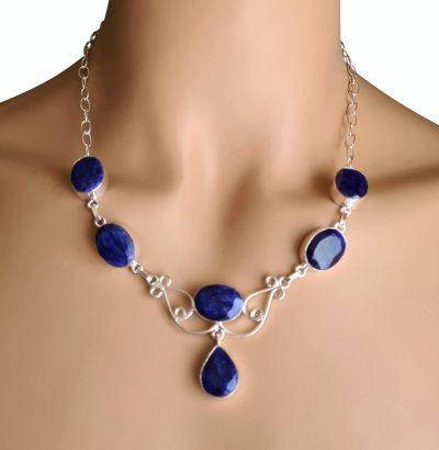 Saphir Collier versilbert blau Einzelstück Schmuck