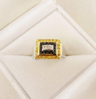 Tricolor Ring mit Rohdiamanten Sterlingsilber Schmuck Herrenring Verlobungsring Einzelstück