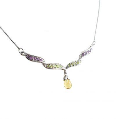 Exquisites Collier mit Amethyst, Peridot & Citrin Sterlingsilber – 14 Karat vergoldet (Weißgold) Schmuck Einzelstück