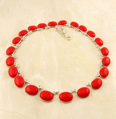 Versilbertes Collier mit roter Koralle - Einzelstück Schmuck