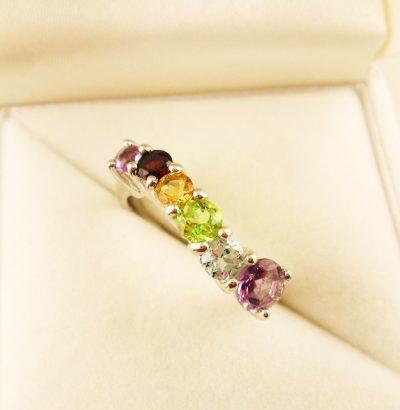 Eleganter Ring mit Amethyst Granat Peridot Citrin & Topas Sterlingsilber – 14 Karat vergoldet (Weißgold) Verlobungsring Schmuck
