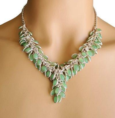 Außergewöhnliches Grünes Onyx Collier versilbert Einzelstück Schmuck