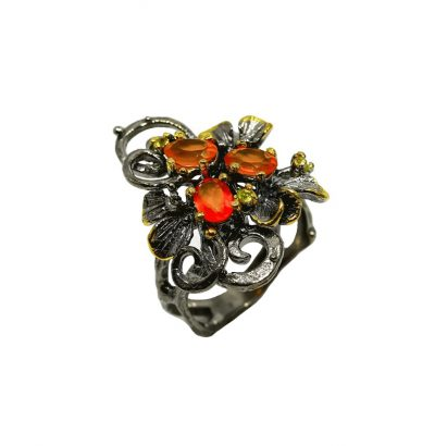 Außergewöhnlicher Ring mit Karneol und Peridot handgefertigt - Sterlingsilber – vergoldet und schwarz rhodiniert Schmuck Verlobungsring