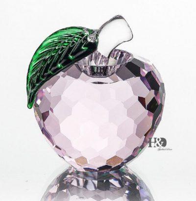 Handgefertigter Kristallglas Apfel Pink Briefbeschwerer Dekoration Geschenkidee