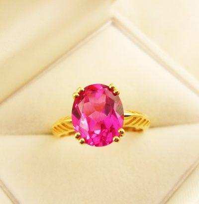 """Rubin Ring """"Pink Ruby"""" Sterlingsilber – 18 Karat vergoldet Gelbgold Einzelstück Schmuck Verlobungsring"""