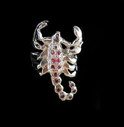 """Rubin Ring """"Skorpion"""" Sternzeichen Sterlingsilber – 14 Karat vergoldet (Weißgold) Schmuck Einzelstück"""