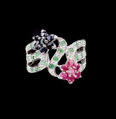 Rubin Saphir Smaragd Blüten Ring Sterlingsilber vergoldet Weißgold Schmuck Verlobungsring