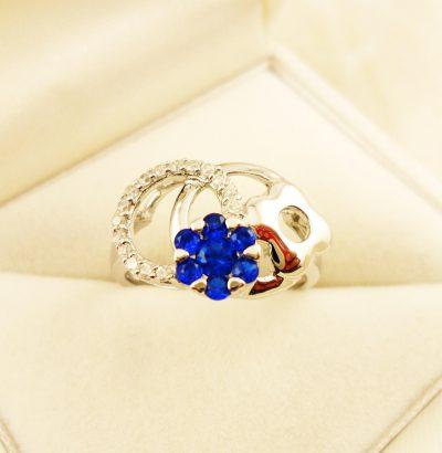 Saphir Blüten Ring Sterlingsilber Verlobungsring Schmuck