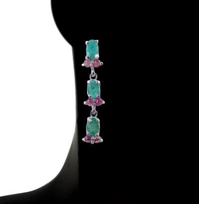 Smaragd Turmalin Ohrhänger - vergoldete Einzelstücke - Schmuck