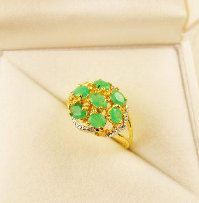 Vergoldeter Smaragd Ring Verlobungsring Schmuck Einzelstück