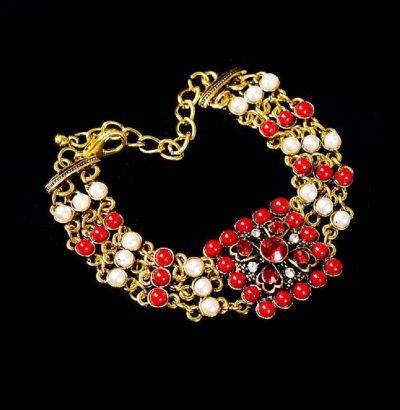Vergoldetes Armband mit Koralle & Perlen Einzelstück Schmuck