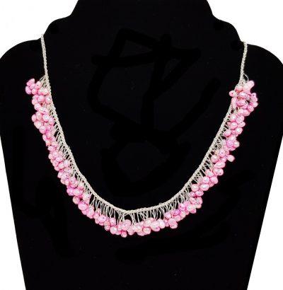 """Handgefertigtes Barockperlen Collier """"Creamy Pink"""" - Perlenschmuck - Einzelstück - metallfrei"""