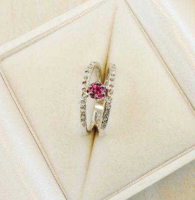 Blüten Ring mit Rohdiamanten Größe 55 bzw. 7 (US) Sterlingsilber Einzelstück Schmuck
