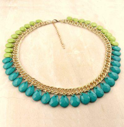 Hübsches Collier in Grüntönen Sommerschmuck Schmuck