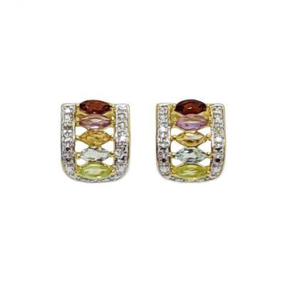 Vergoldete Edelstein Ohrringe mit Diamanten Einzelstücke Schmuck Multicolor