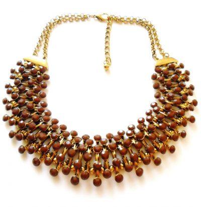 Goldfarbenes Collier mit braunen Steinen Modeschmuck Schmuck