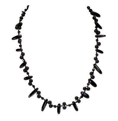 Geflochtenes Collier aus schwarzem Spinell handgefertigt Einzelstück Schmuck