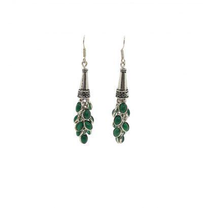 Ohrhänger mit grünem Onyx versilbert Einzelstücke Schmuck