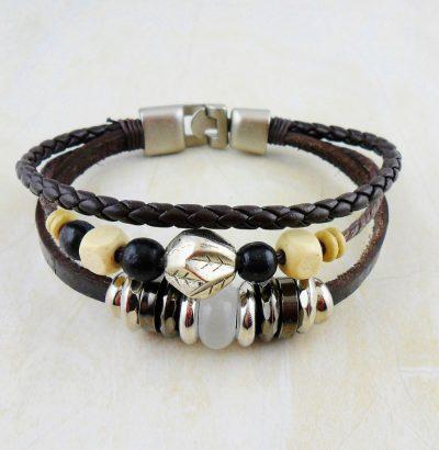 Handgefertigtes Hanf/Leder Armband - Herrenschmuck - Herrenarmband