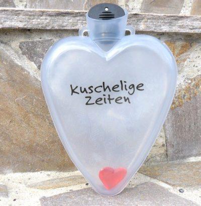 """Herzflasche """"Kuschelige Zeiten"""" Geschenkidee Geschenkartikel mit Herz"""