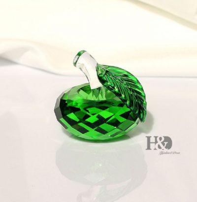 Kristallglas Apfel Grün Handgefertigt Briefbeschwerer Dekoration Geschenkartikel Sammlerstück Geschenkidee