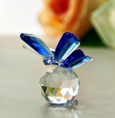 Kristallglas Schmetterling blau handgefertigt Geschenkidee Dekoration