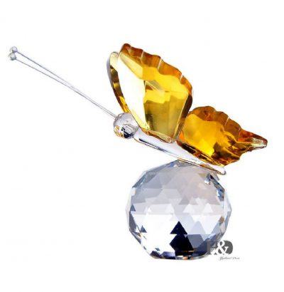 Kristallglas Schmetterling gelb handgefertigt Geschenkidee Dekoration