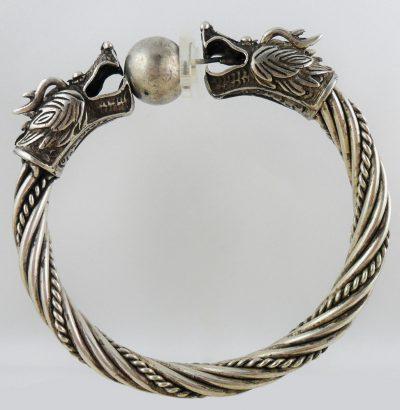 Miao Silber Drachen-Armspange mit Ball handgefertigt Miao Silber Schmuck