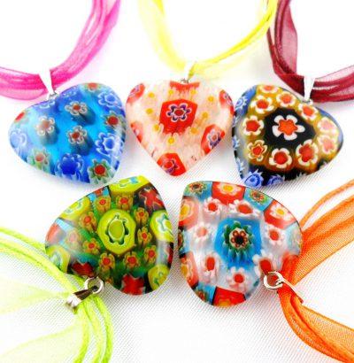 Millefiori Herz Collier 5 Farben Schmuck