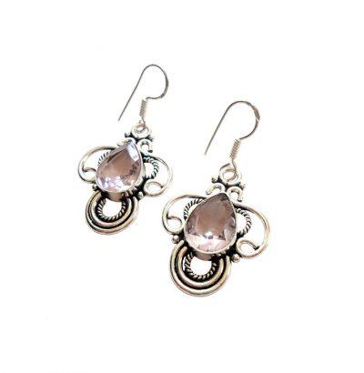 Quarz Pink Topas Ohrhänger Versilbert mit Silber-Ohrhaken Einzelstücke Schmuck