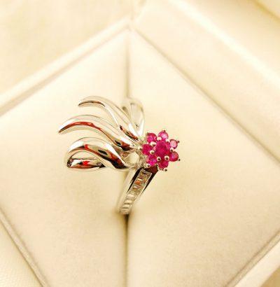 Exquisiter Rubin Blüten Ring mit Topas Sterlingsilber Einzelstück Schmuck Verlobungsring