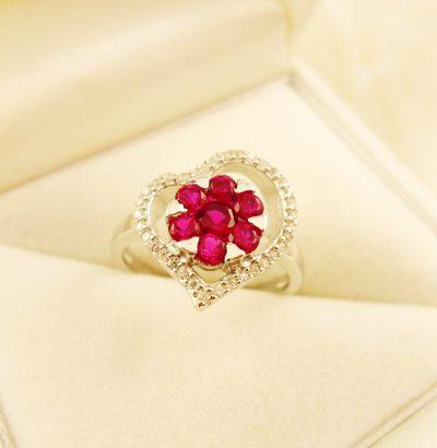 Rubin Topas Blüten Ring Sterlingsilber Verlobungsring Schmuck