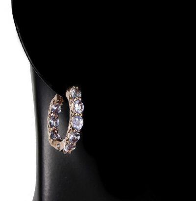 Exquisite Ohrringe mit Tansanit Sterlingsilber – 14 Karat vergoldet (Roségold) Schmuck